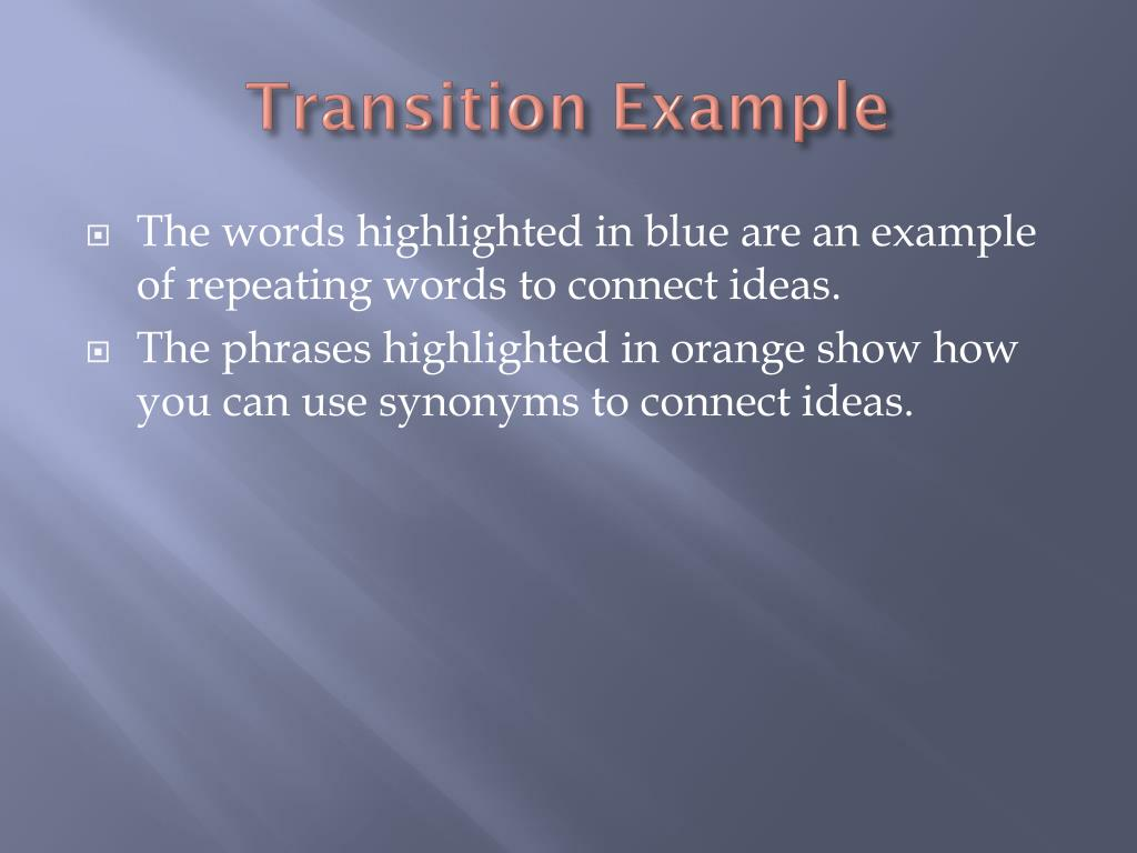 thesis transition sentences A transition is a word or phrase that connects consecutive sentences or paragraphs effective transitions can clarify the logical flow of your ideas and thus strengthen your argument or explanation here, two main transitional tools are discussed: demonstrative pronouns and introductory terms.