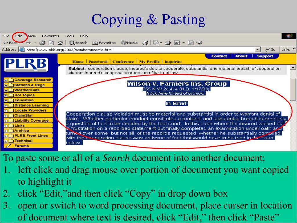 Copying & Pasting
