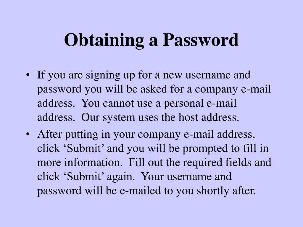 Obtaining a Password