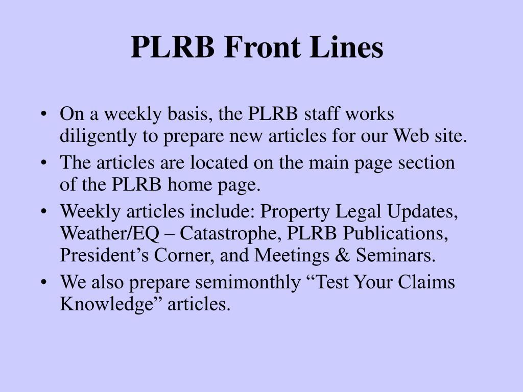 PLRB Front Lines