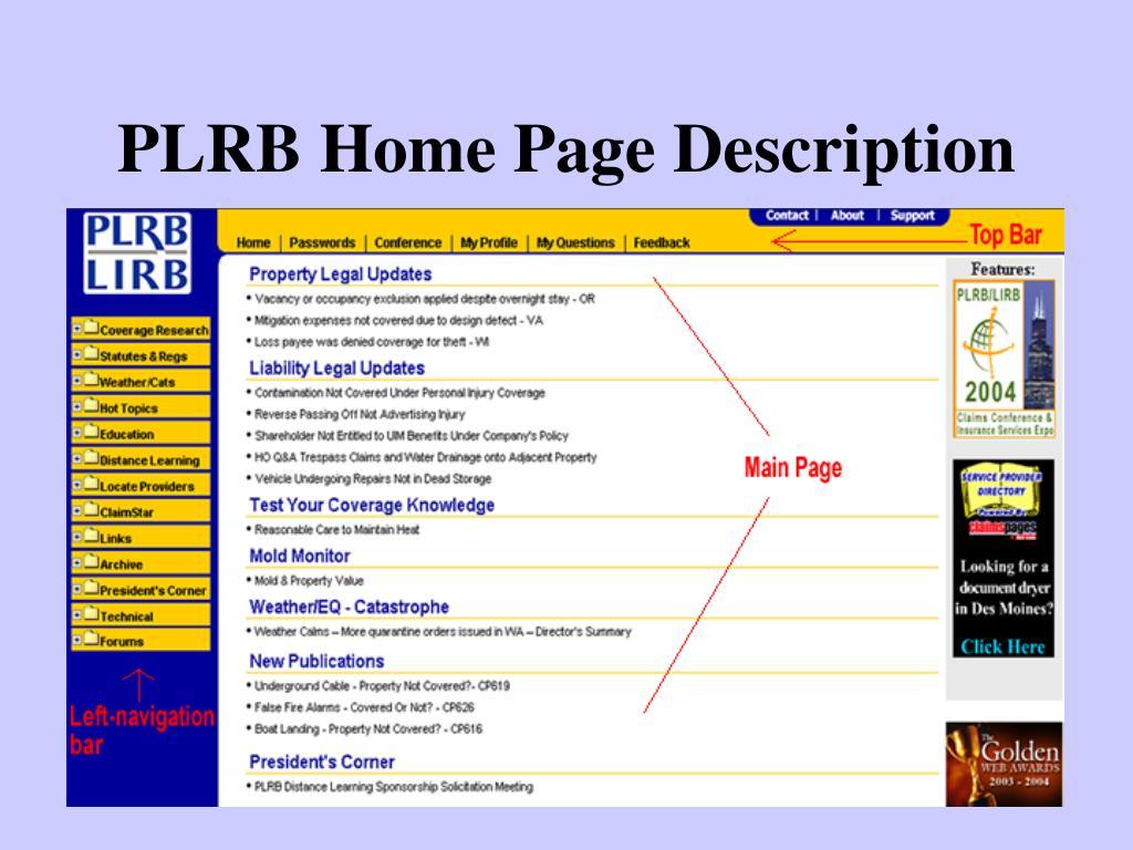 PLRB Home Page Description
