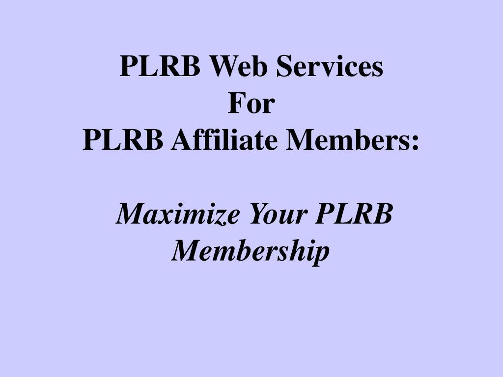 PLRB Web Services