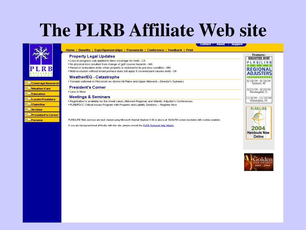 The PLRB Affiliate Web site