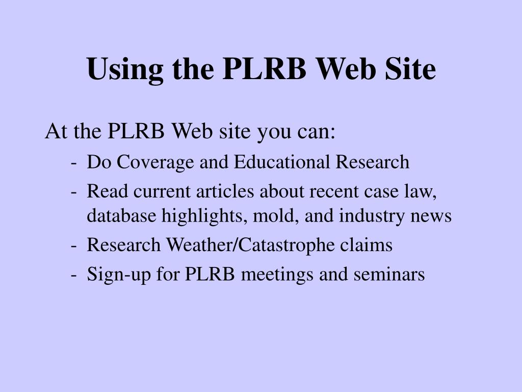 Using the PLRB Web Site