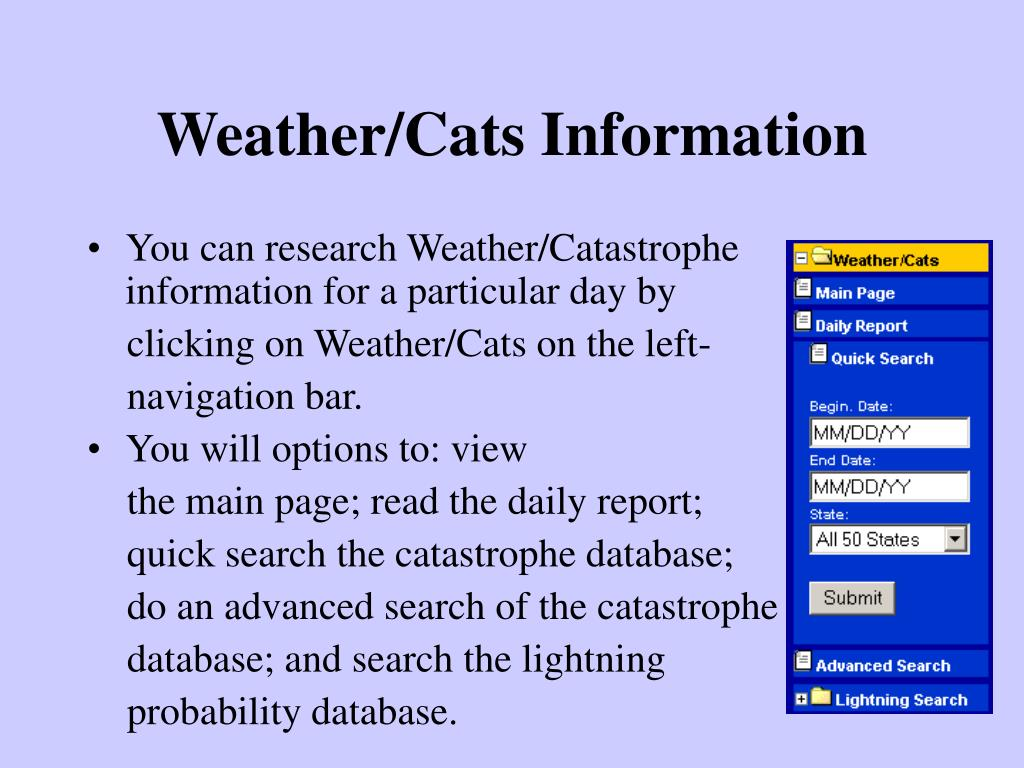 Weather/Cats Information
