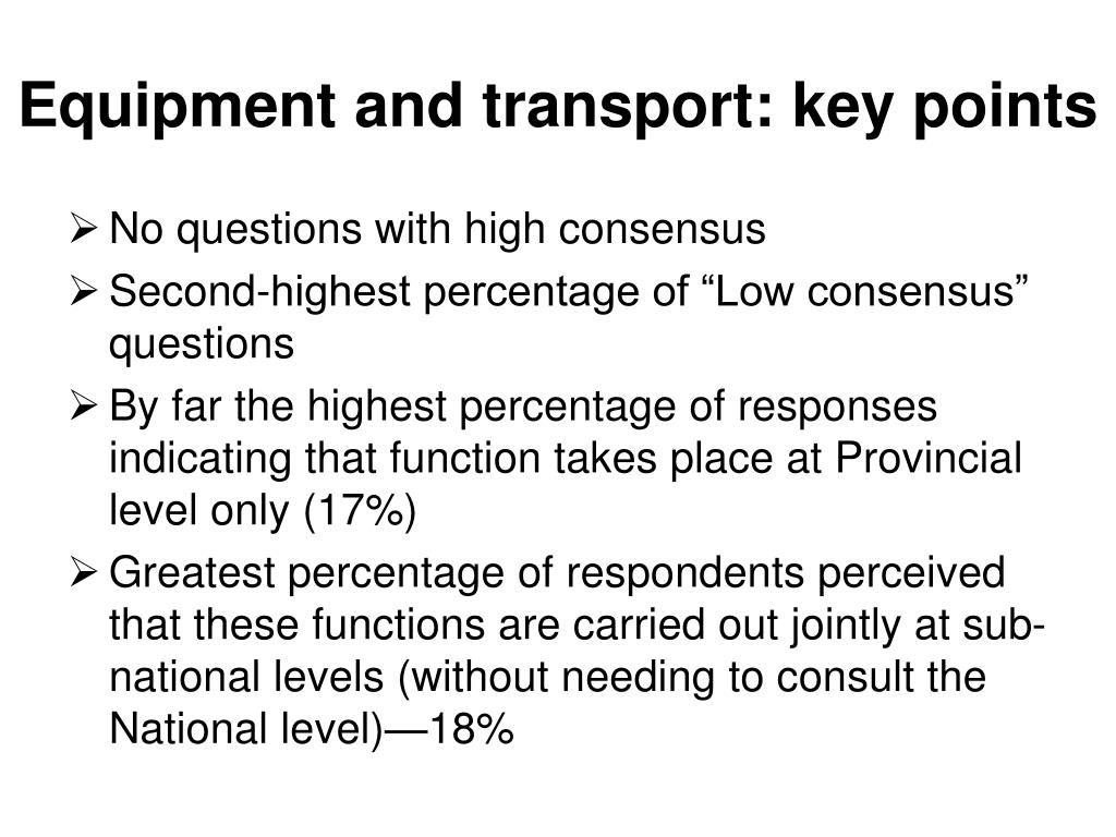 Equipment and transport: key points