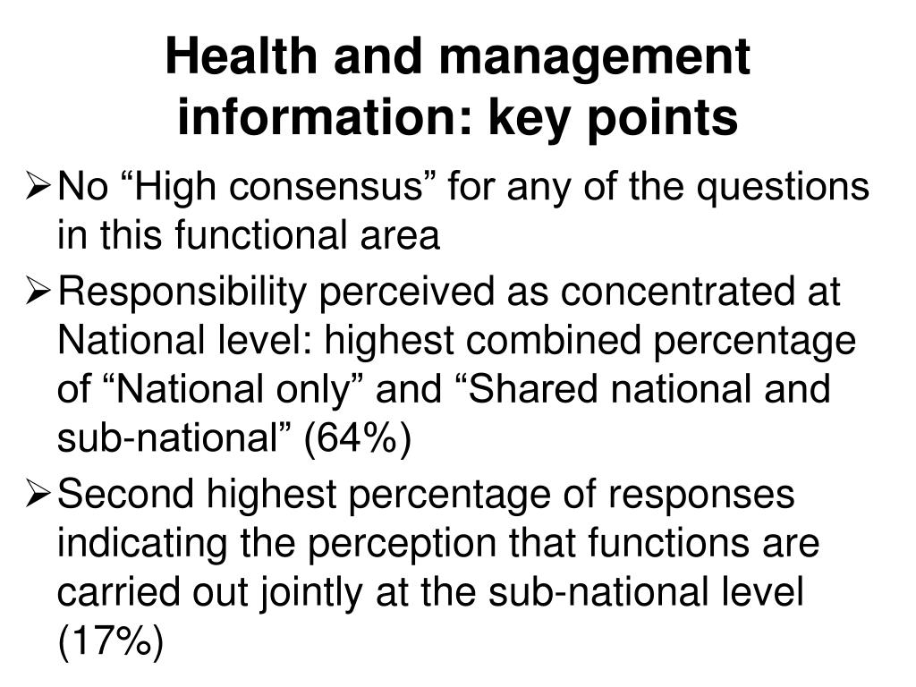 Health and management information: key points