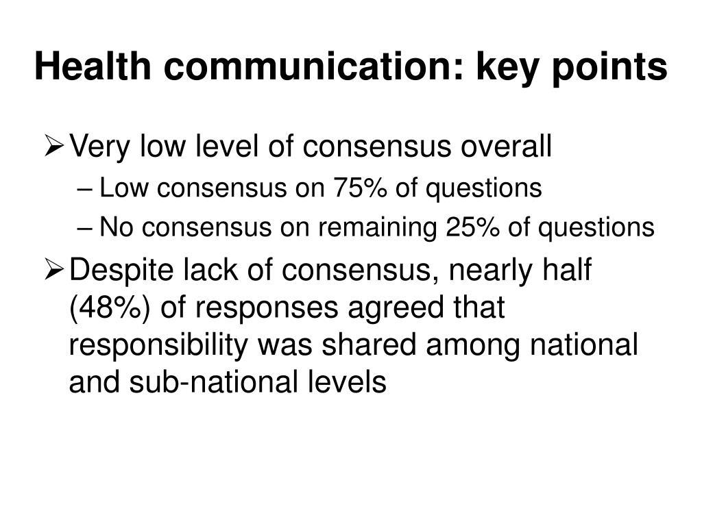 Health communication: key points