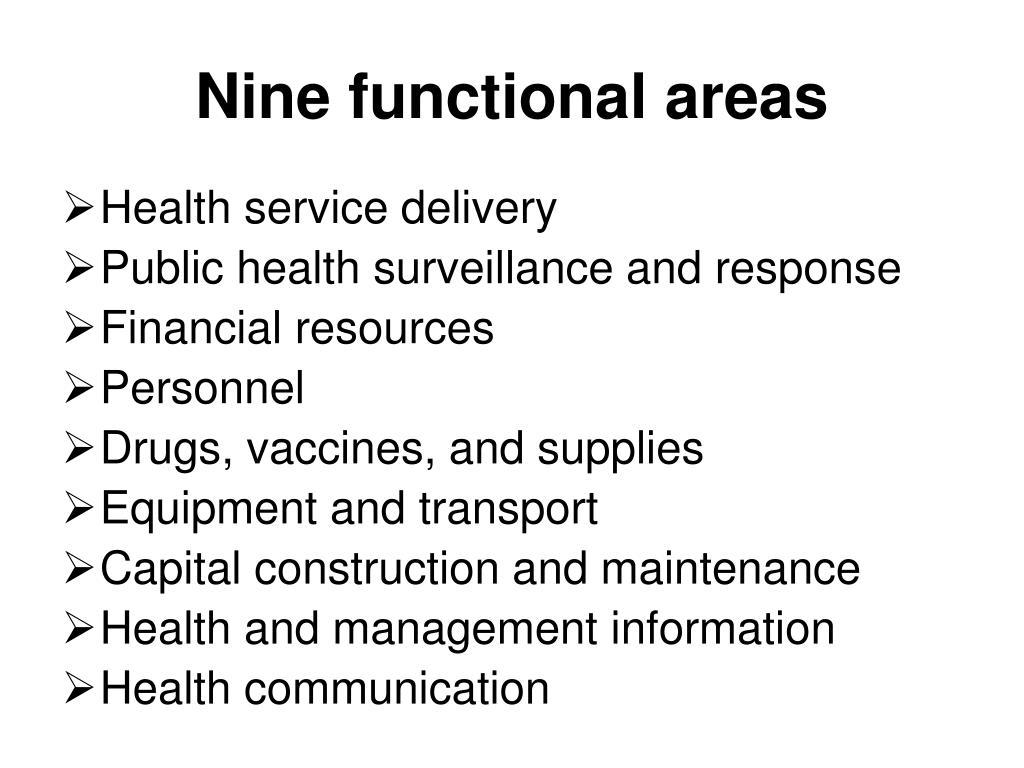 Nine functional areas