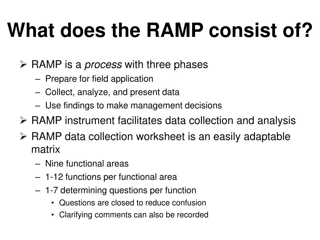 What does the RAMP consist of?