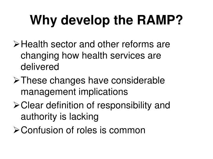 Why develop the ramp