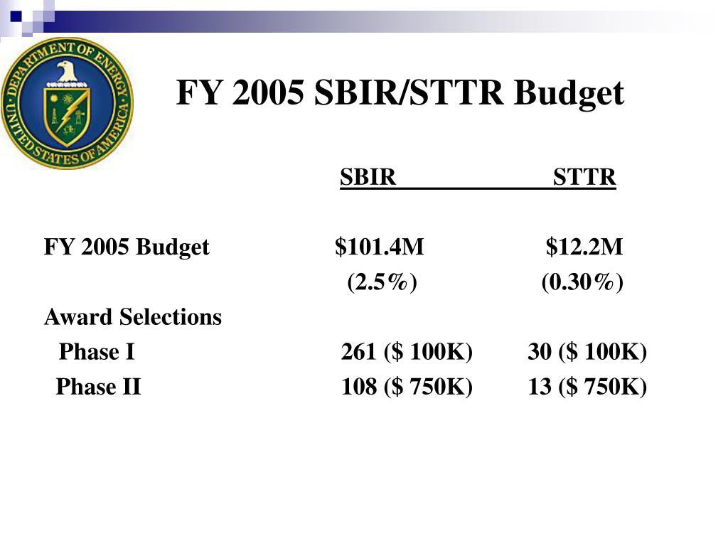 FY 2005 SBIR/STTR Budget