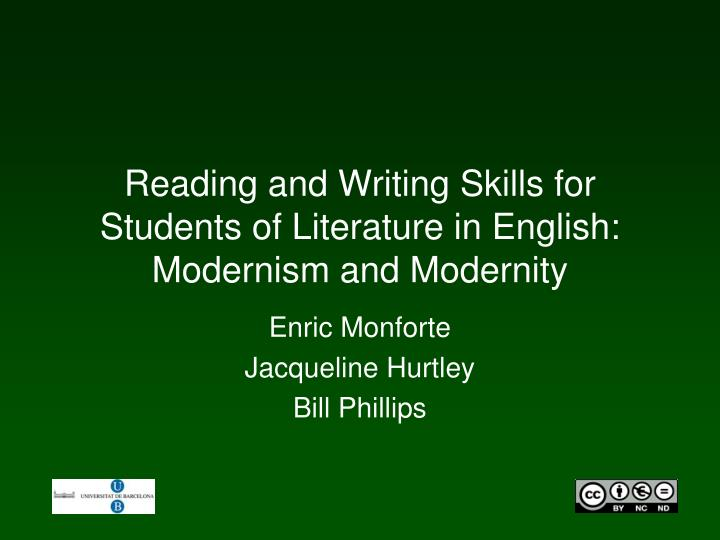 Reading and writing skills for students of literature in english modernism and modernity l.jpg