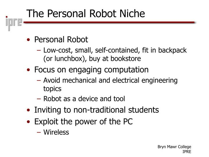 The personal robot niche