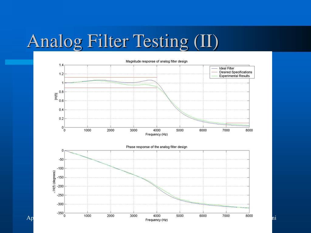 Analog Filter Testing (II)