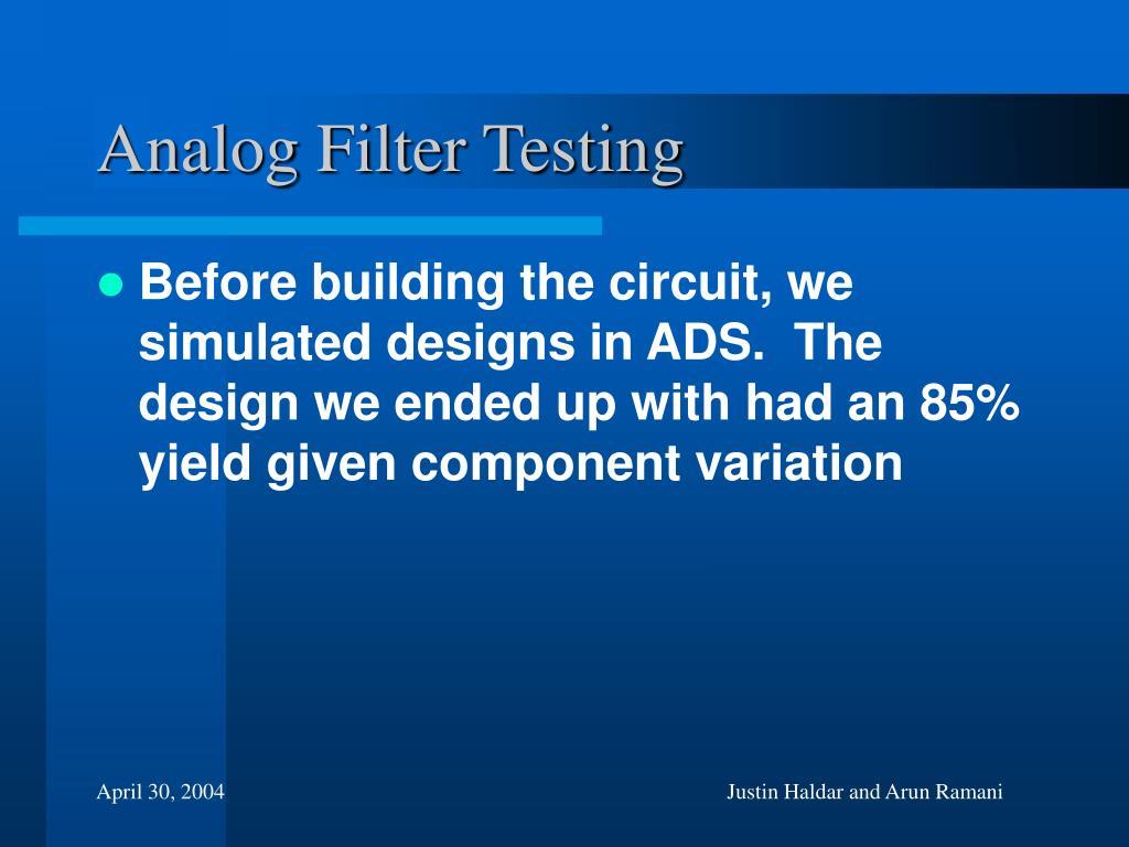 Analog Filter Testing