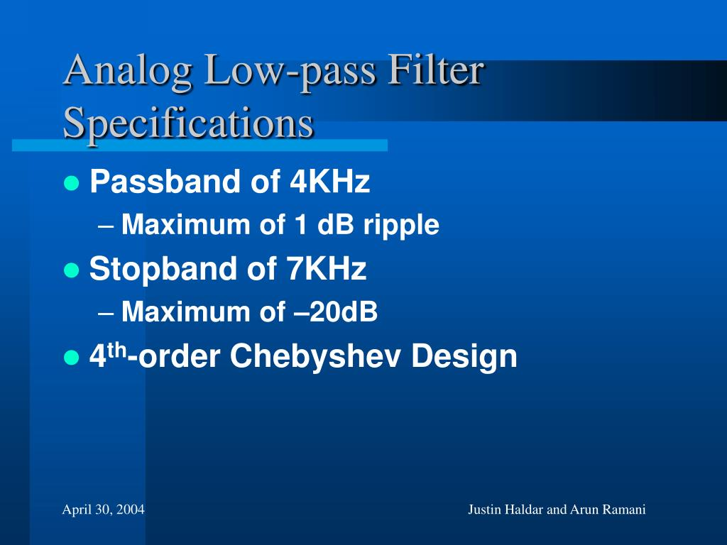 Analog Low-pass Filter Specifications