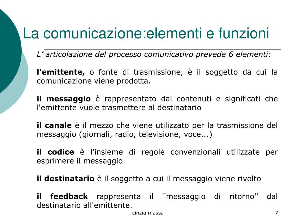 La comunicazione:elementi e funzioni