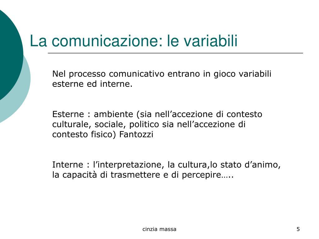 La comunicazione: le variabili