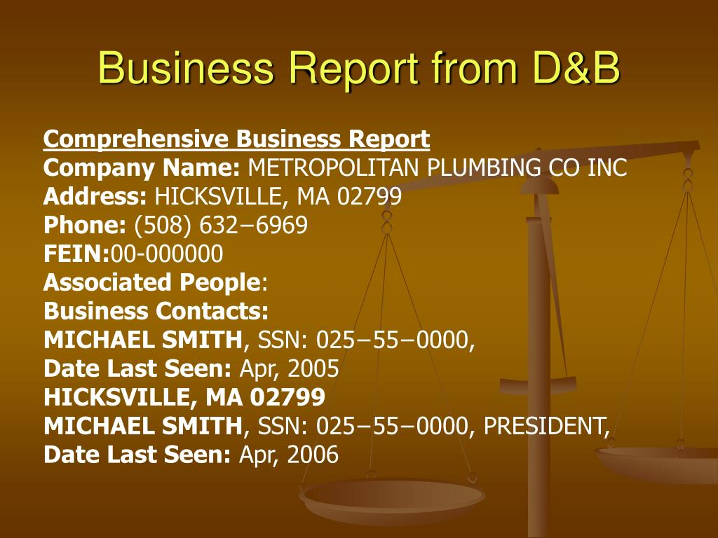 Business Report from D&B