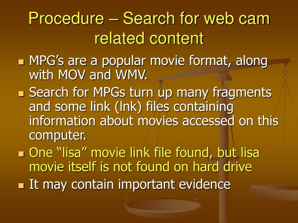Procedure – Search for web cam related content