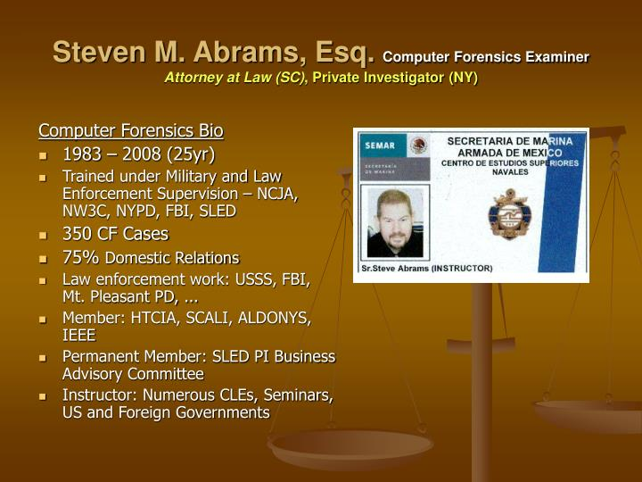 Steven m abrams esq computer forensics examiner attorney at law sc private investigator ny