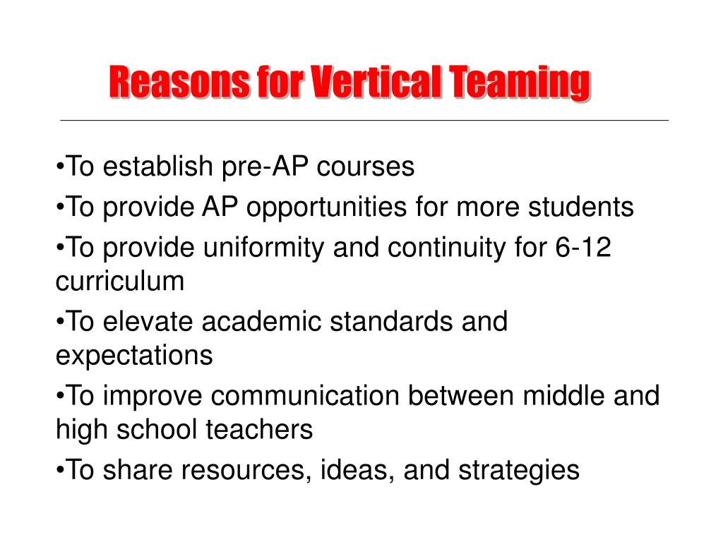 Reasons for Vertical Teaming