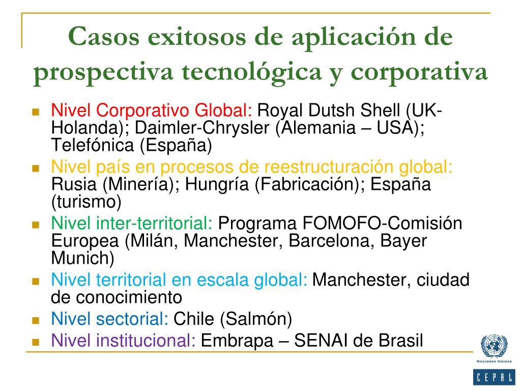Casos exitosos de aplicación de prospectiva tecnológica y corporativa