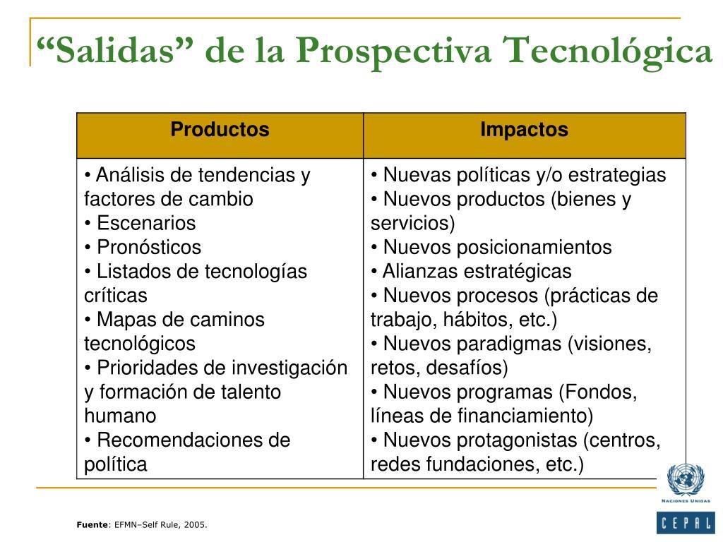 """""""Salidas"""" de la Prospectiva Tecnológica"""