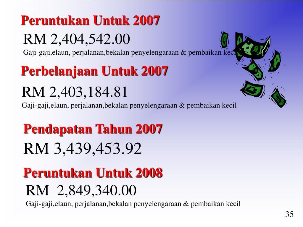 Peruntukan Untuk 2007