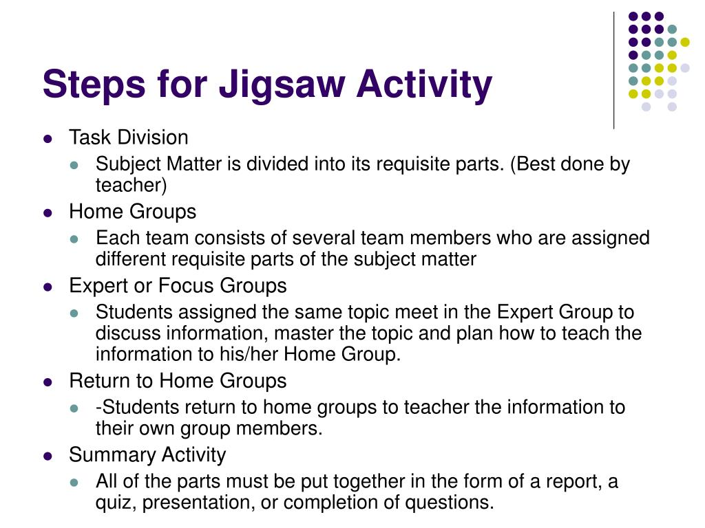 Steps for Jigsaw Activity