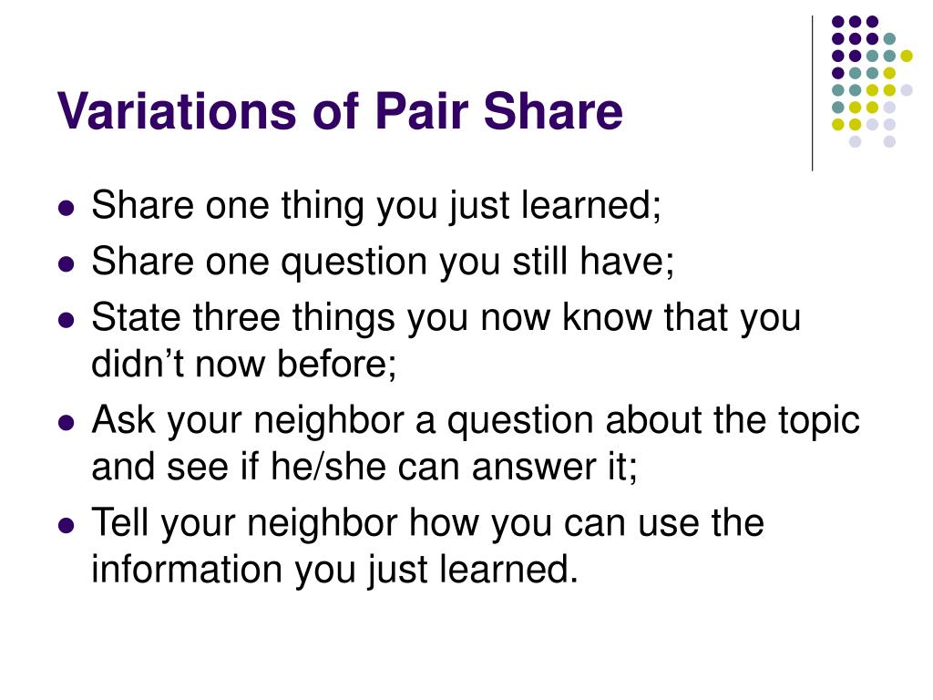 Variations of Pair Share