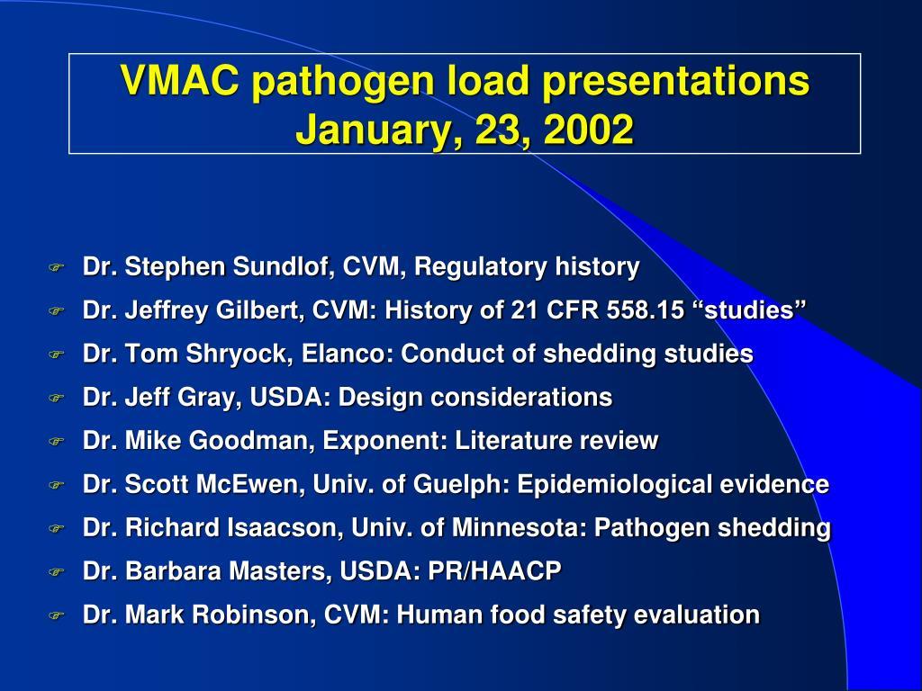 VMAC pathogen load presentations