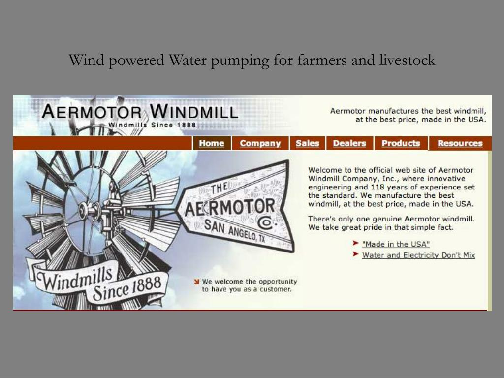 Wind powered Water pumping for farmers and livestock