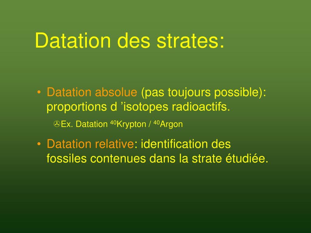 Datation des strates: