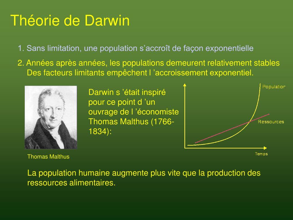Darwin s'était inspiré pour ce point d'un ouvrage de l'économiste Thomas Malthus (1766-1834):