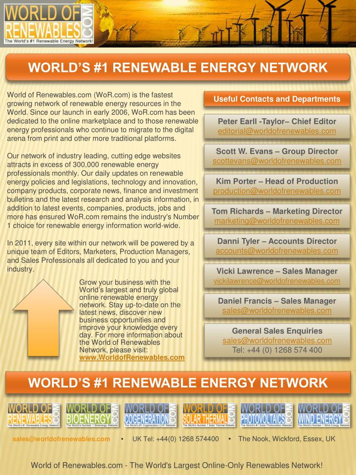 World of Renewables.com - The World's Largest Online-Only Renewables Network!