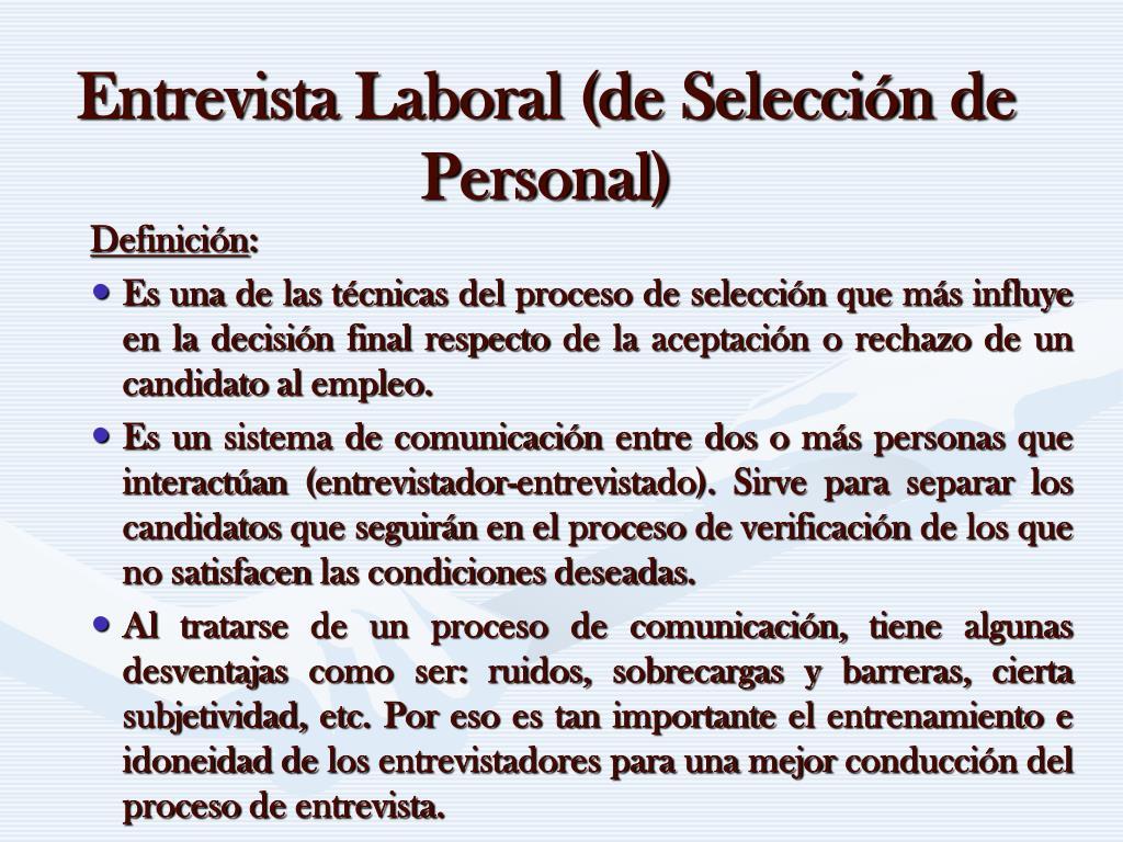 Entrevista Laboral (de Selección de Personal)