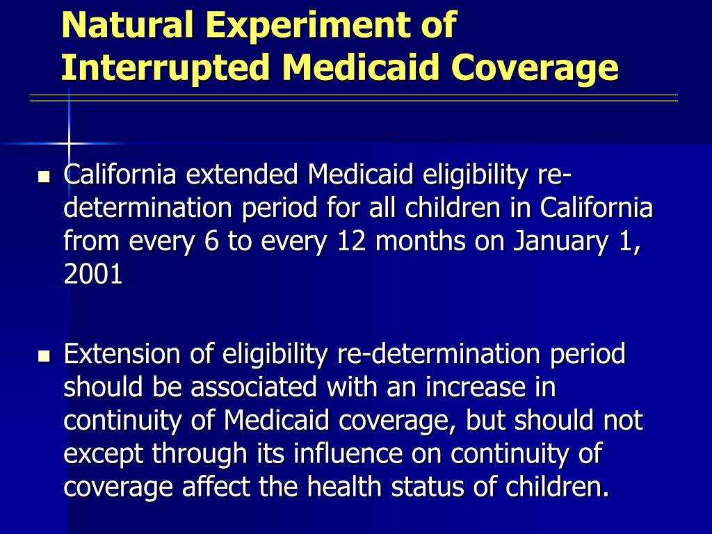 Natural Experiment of Interrupted Medicaid Coverage