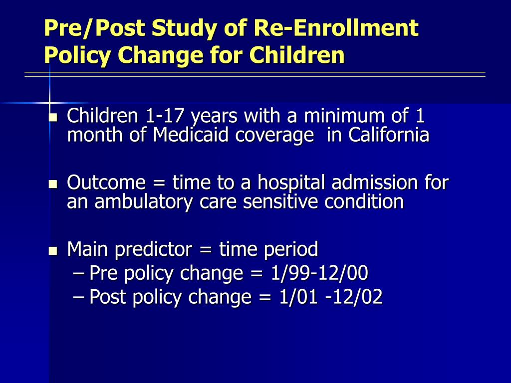Pre/Post Study of Re-Enrollment Policy Change for Children