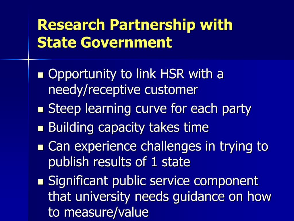 Research Partnership with State Government