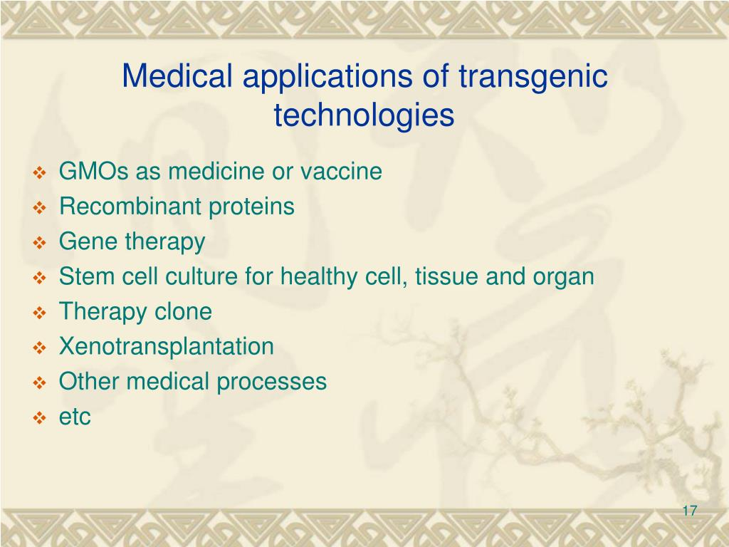 Medical applications of transgenic technologies