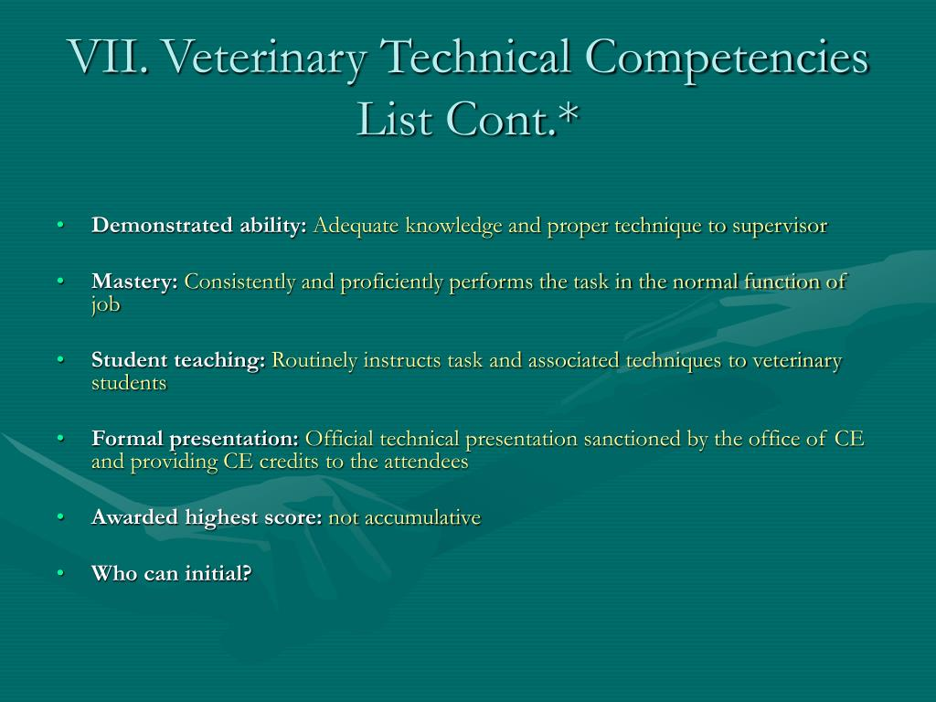 VII.	Veterinary Technical Competencies List Cont.*