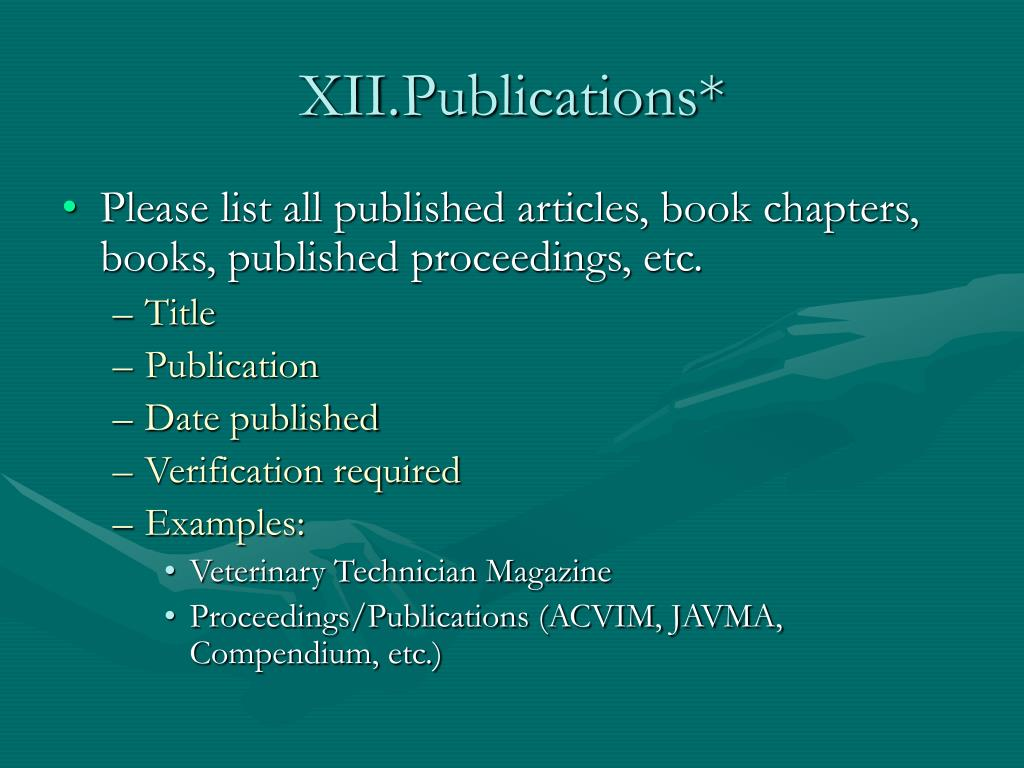 XII.Publications*