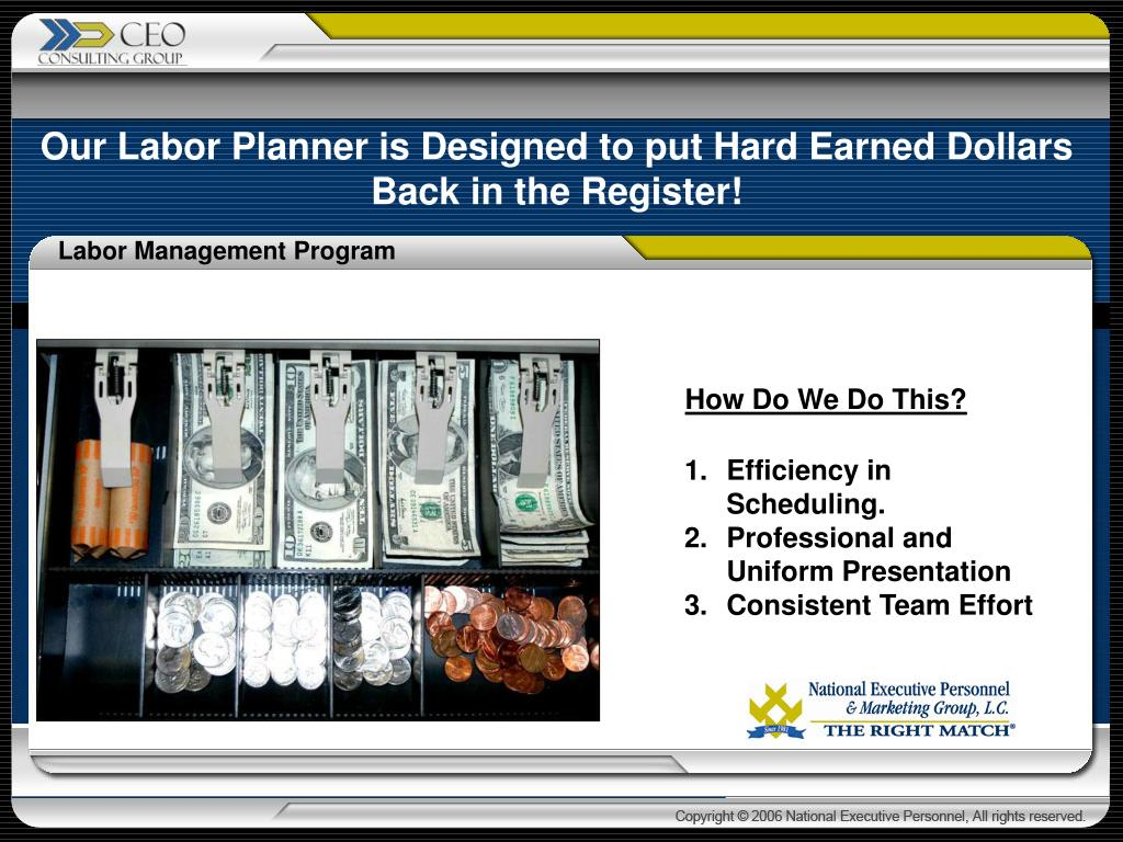 Our Labor Planner is Designed to put Hard Earned Dollars Back in the Register!