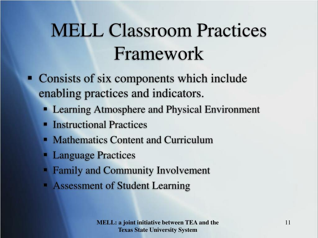 MELL Classroom Practices Framework