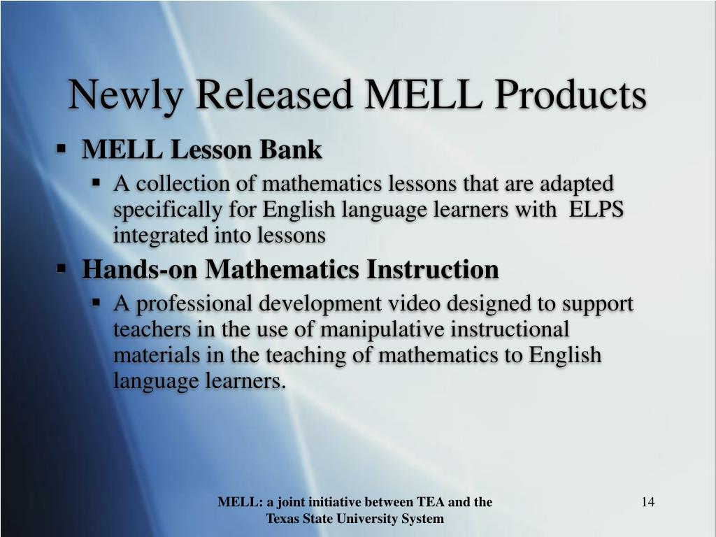 Newly Released MELL Products