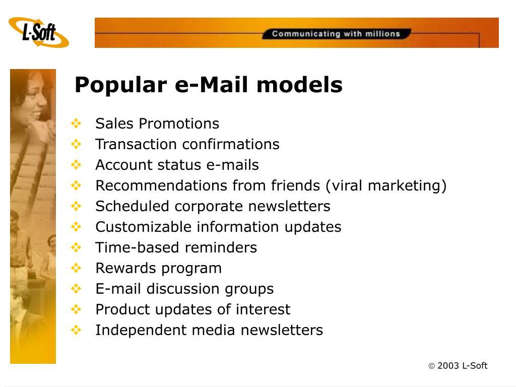 Popular e-Mail models