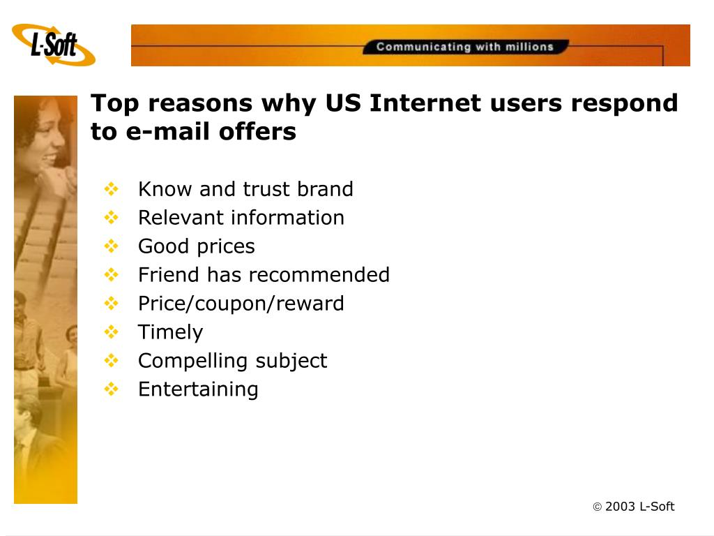 Top reasons why US Internet users respond to e-mail offers