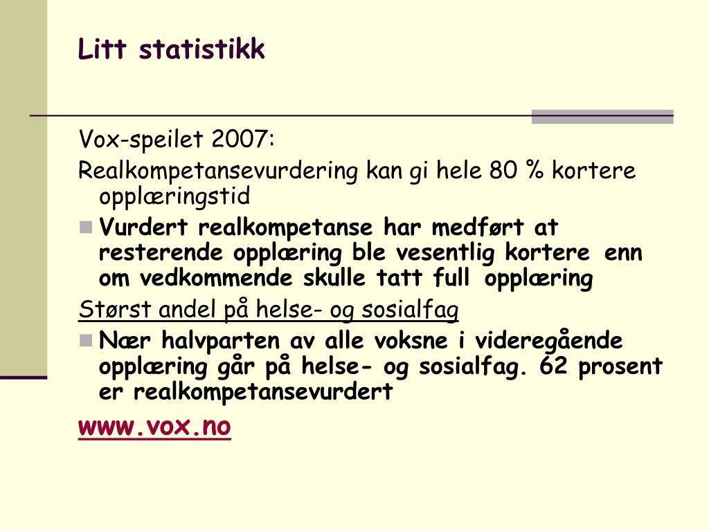 Litt statistikk